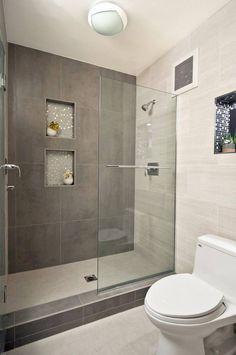 Shower Design for Small Bathroom. 20 Shower Design for Small Bathroom. Modern Bathroom Design Ideas with Walk In Shower Bathroom Renos, Grey Bathrooms, Bathroom Renovations, Bathroom Interior, Master Bathroom, Basement Bathroom, Bathroom Cabinets, Bathroom Makeovers, Bathroom Modern