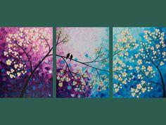 """54x24 original abstracta moderna pesado textura Espátula Pintura Impasto Árbol Paisaje decoración de la pared """"canto de los pájaros y el aroma de las flores"""":"""