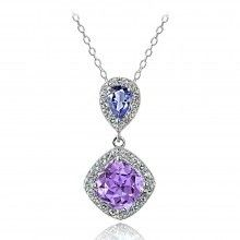 Sterling Silver Amethyst and Tanzanite and White Topaz Drop Necklace