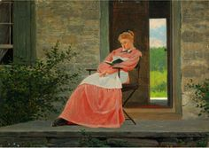 Girl reading on a stone porch / Reading and Art: Winslow Homer (American 1836-1910)