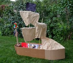 Cardboard Pirate Ship by Ikat Bag I can pull this off in just a about I may only have that to set up for the party before kids arrive. Pirate Birthday, Pirate Theme, Pirate Party, Cardboard Pirate Ship, Cardboard Train, Cardboard Castle, Activities For 5 Year Olds, Kid Activities, Preschool Ideas