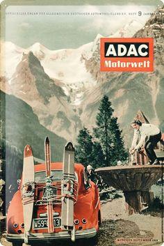 Nostalgic Tin sign advertising poster ADAC magazine 1956 ski mountains vintage