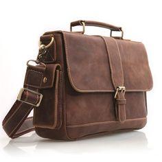 Image of Vintage Handmade Antique Crazy Horse Leather Briefcase Messenger Laptop Bag in Old Dark Brown (n20)