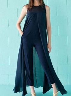 Fvogue Special Navy Blue Sleeveless Polyester Jointed Flowing Jumpsuit