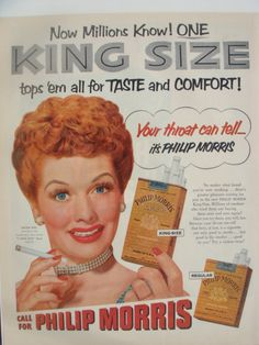 """Lucille Ball for Philip Morris  """"Your throat can tell"""""""