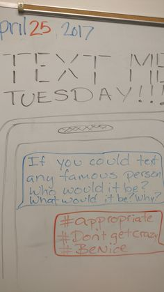 This is a fun journal prompt that again incorporates some choice as to who they are texting. School Classroom, Classroom Activities, Morning Board, Morning Activities, Morning Meetings, Daily Writing Prompts, Bell Work, Responsive Classroom, Bell Ringers