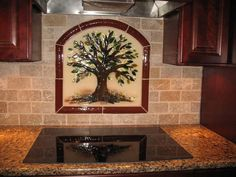 """Tree of Life"" Kitchen Backsplash in Fused Glass 