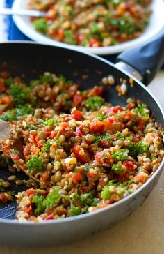 Sauteed Garlic and Tomato Lentil Salad