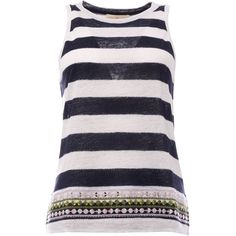 Tory Burch Tank Tops ($145) ❤ liked on Polyvore featuring tops, tory burch brushed stripe, embroidered tank, blue tank, striped top, crew neck tank top and blue sleeveless top