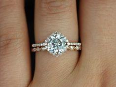 Rosados Box Kitana 7mm & Ultra Petite Bead Eye Round FB Moissanite and Diamonds Cushion Halo Wedding Set $1,810 Perfection!!