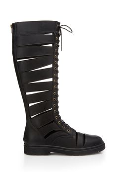 Be Seen Combat Boots | FOREVER21 Strapped in #Boots #KneeHigh and then wear colorful tight/stockings