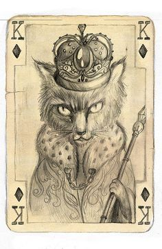 """fable"" illustration by archplus Playing Cards Art, Vintage Playing Cards, Vintage Cards, Illustrations, Illustration Art, Art Carte, Image Chat, Ap Studio Art, Cat Character"