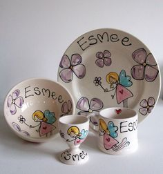 Beautifully hand-painted and personalised ,this dinner set comes complete with a ceramic plate,cereal bowl, mug and egg cup.Hand painted and personalisedGlazed earthernwareincludes plate ,mug,bowl and egg cup Plate 20cm coupe or 22cm rimmed  Bowl 13cm x7cmDishwasher safeMade in the UK