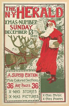 THE N.Y. HERALD / XMAS NUMBER / SUNDAY / DECEMBER 13TH / 1896 / A SUPERB EDITION / Five Colored Sections / 36 ART PAGES 36 / X-MAS STORIES / X-MAS PICTURES / X-MAS MUSIC / X-MAS POEMS