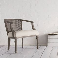 Merveilleux Swoon Editions The Marlow: French Style Cane Barrel Back Chair In Oatmeal  Linen For