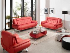 Bright-Red-Sofa-With-Decorative-Lighting