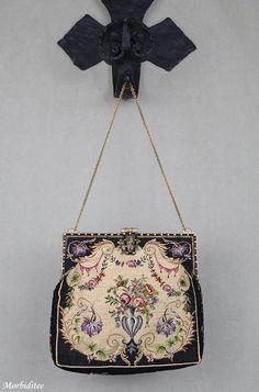 Antique petit point handbag purse jeweled needlepoint