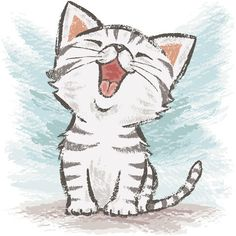 Love the kitty glee! Drawing paintbrush-Cats by Toru Sanogawa, via Behance. #cat #kitty #ToruSanogawa
