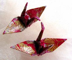 Ginkgo Gold Magenta Peace Crane Bird Origami Ornament Wedding Cake Topper Party Favor  Place Card Holder Table Decoration