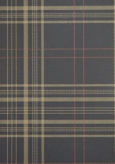 Rakel Plaid Wallpaper Charcoal and Brown plaid wallpaper with red window check.