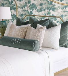 We love seeing pieces from our luxury home decor collections being used in new and creative ways. Here our brilliantly talented designers have put tog. Blue Comforter Sets, Green Bedding, Green Pillows, Sofa Pillows, Cushions On Bed, Luxury Home Decor, Luxury Homes, Bed Linen Design, Pillow Design