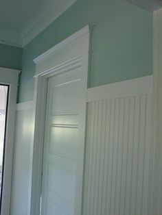 sherwin williams - rainwashed   high bead board  interior doors....really like this for a bathroom idea!