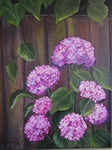 Hydrangeas by the Fence floral acrylic painting by Deborah Wolfe in the FASO Daily Art Show - Gardening And Living
