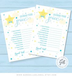 Twinkle Twinkle Little Star Baby Shower Guess The Price Game Printable, Whats The Price, Blue Boy Baby Shower Game, Guess Shower Games