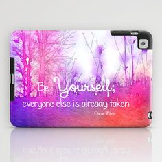 Be Yourself iPad Case by Olivia Joy StClaire - $60.00 ipad mini case, watercolor, valentine, case, accessory, pink, pretty, gift typography, quote, orchid, amethyst