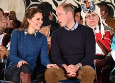 Kate affectionately rests her hand on William's knee as the couple are welcomed by the Hei...