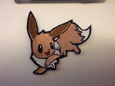 Shiny Metallic Embroidery Eevee patch. Pokemon Iron on patch.