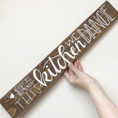 In this kitchen we dance. Also available in other stain colors. Stained wood sign. Perfect gift for a housewarming party, that one person who loves to cook or just your own kitchen. Every sign is made by my own 2 hands and that's what makes each piece unique. They are made from left-over wood which means it already has a little history (ohw how i love that part..) With every sign you buy you help a street dog to a better place AND save the environment (more about this on my easy page..)