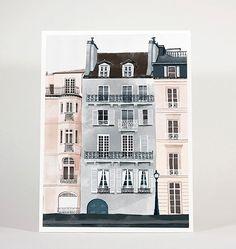 Day in Paris - 8x10 inch / 18x24 cm / city / art print / illustration / giclee print / watercolour / wall decor / wall art / digital print