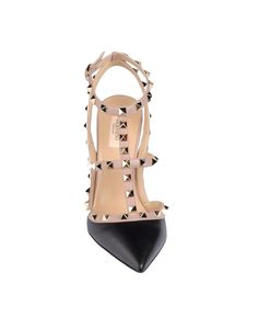 VALENTINO Rockstud sling back in calfskin leather and napa. Platinum finish stud details. Two adjustable straps. Heel 100 mm/4''. Made in Italy.