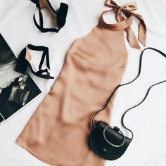 The One Day Light Brown Satin Halter Swing Dress will make every day special! Shiny satin halter dress with a backless, swing silhouette. Party Outfit For Teen Girls, Outfits For Teens, Casual Outfits, Cute Outfits, Fashion Outfits, Womens Fashion, Fashion Trends, Style Fashion, Fashion Ideas