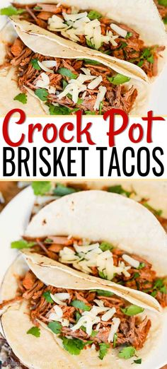 These Mexican brisket crock pot tacos are perfect for a quick dinner or your next party. These slow cooker brisket tacos are a quick and easy dinner recipe.