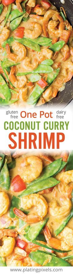 Delicious, healthy and easy One Pot Coconut Curry Shrimp recipe by Plating Pixels. Snow peas, bell pepper, carrots, ginger and coconut milk cooked with curry shrimp in one pot as an easy weeknight meal. Gluten free and dairy free recipe. - http://www.platingpixels.com
