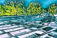 Summer Punts, hand painted solar plate.