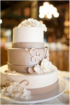 Neutral wedding cake with gorgeous piping design!  This cake can easily be recreated by our award-winning pastry chef at the JW Marriott Tucson Starr Pass!