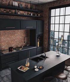 Industrial Style Kitchen, Industrial Interior Design, Interior Design Kitchen, Interior Decorating, Industrial Chic, Decorating Ideas, Industrial Bedroom, Industrial Lighting, Kitchen Designs
