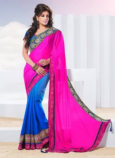 Fascinating Look Chiffon Half And Half #Saree