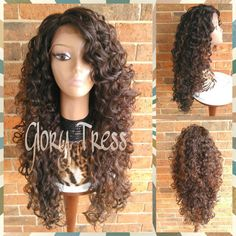 Ready to Ship Long Curly Lace Front Wig Brown Curly Wig Big Curly... ($105) ❤ liked on Polyvore featuring beauty products, haircare, hair styling tools, bath & beauty, grey, hair care, wigs and curly hair care