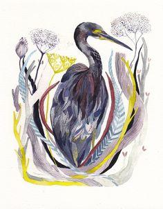 Heron  Archival Print by unitedthread on Etsy, $20.00