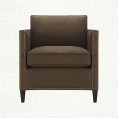 """""""Rooney"""" Chair at Arhaus. Slim track arms with nailhead detail. Stocked in micro fiber fabric, Dior Saddle (can customize for upcharge). (33w x 37d x 35h)"""