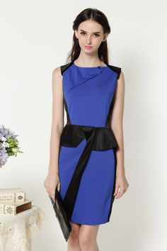 European style Summer new arrival 2014 ol elegant slim waist blue color  vintage one-piece dress  23.90 e46079da6