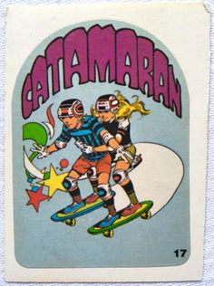 "skateboard sticker ""Catamaran"" - I love this move XD 70s T Shirts, Retro Surf, Skate Art, Cool Skateboards, Container House Design, Surf Style, Logo Sticker, Graphic Art, Pop Art"