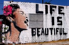 Street art of that ever-so-iconic image of Billie Holiday in Hollywood