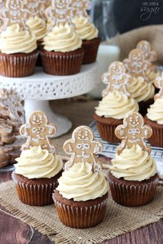 Gingerbread Cupcakes with Caramel Molasses Icing | Life Love and Sugar