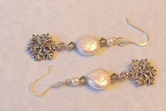 Snowflake Earring Freshwater Coin Pearl by SeagullSmithJewelry, $11.50