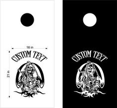 Skull Flames Cornhole Board Decals Flag Stickers Graphics Wrap Bag Toss Bean Baggo SK01